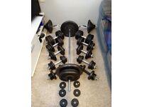 Weights Dumbbells, Barbells, Ez Bar, Hammer Curl Bar & Bench, 285KG of Weight Plates
