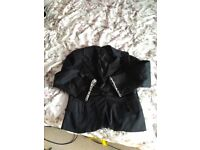 Smart black cotton jacket with crystal gold, zip & leopard print detailing.