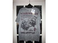 New Mens Grey VW Design T Shirt Size Large IP1