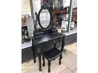 Shabby Chic French Style Black Ornate Dressing Table, Stool & Mirror