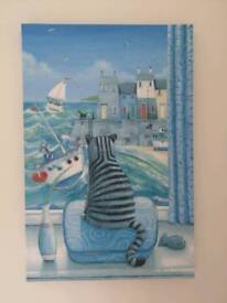 Cat by ocean print on canvas in perfect condition
