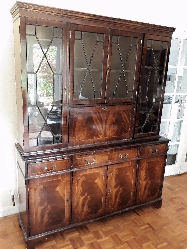 Dresser Wall Unit Cocktail Cabinet Glass Display Mahogany For Lounge