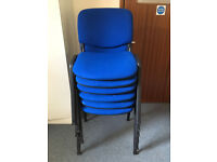Stackable Office Chairs, Blue Fabric