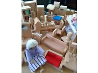 WOODEN DOLLS HOUSE, furniture and people
