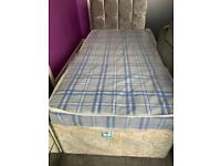 Brand new single mattress with trundle divan base and lovely headboard trundle not included.