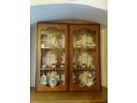 DISPLAY CABINET WITH GLASS LEADED OAK DOORS