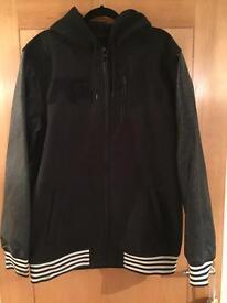 Analog Men's technical black jacket Faux leather sleeves size large
