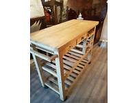 large solid pine kitchen trolley