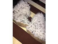 Grey Fluffy Slipper Boots Size 5/6