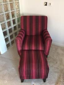 BHS arm chair & matching footstool RRP £699