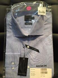 """New BAUMLER Men's Light Blue Formal Shirt 17"""" 43cm"""