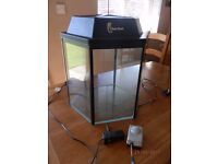 60 litre hexagonal fish tank c/w filter & Air Pump