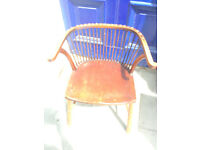 Elm Windsor Style Chair with Brass Stud Work , must be seen ......... Free local delivery.