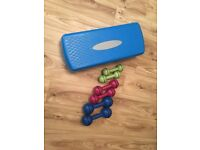 Step, weights, power hoop, Pilates band and Pilates ball