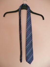 Mens F&F Blue Purple and Silver Grey Striped Tie