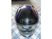 2 matching motorcycle helmets
