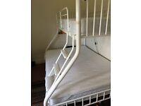 3 sleeper bunk bed, white metal, mattresses no included