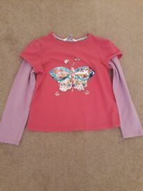 Pink butterfly sequinned top