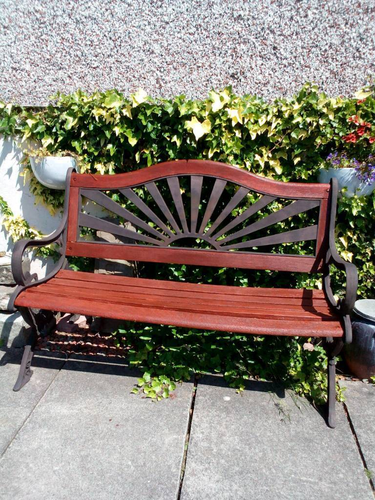 Garden Bench Cast Iron Ornate Sides With Sundial Back