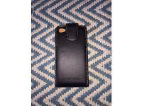 Black leather iPhone 4 flip case