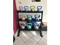 Kettlebell / weights rack with 10 x kettle bells 2-18kg