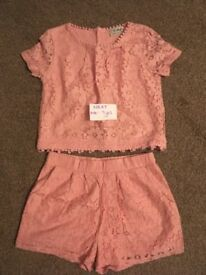Girls Next pink lace outfit. Age 7 Years