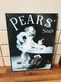 REDUCED Vintage Style Metal Pears Soap Sign