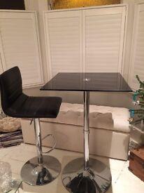 Bar Table Poseur Black Glass Chrome