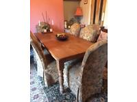 Antique farmhouse pine table and 6 chairs
