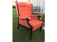 Quality Vintage/Retro Wing Back Chair with Solid Wood Frames and Legs