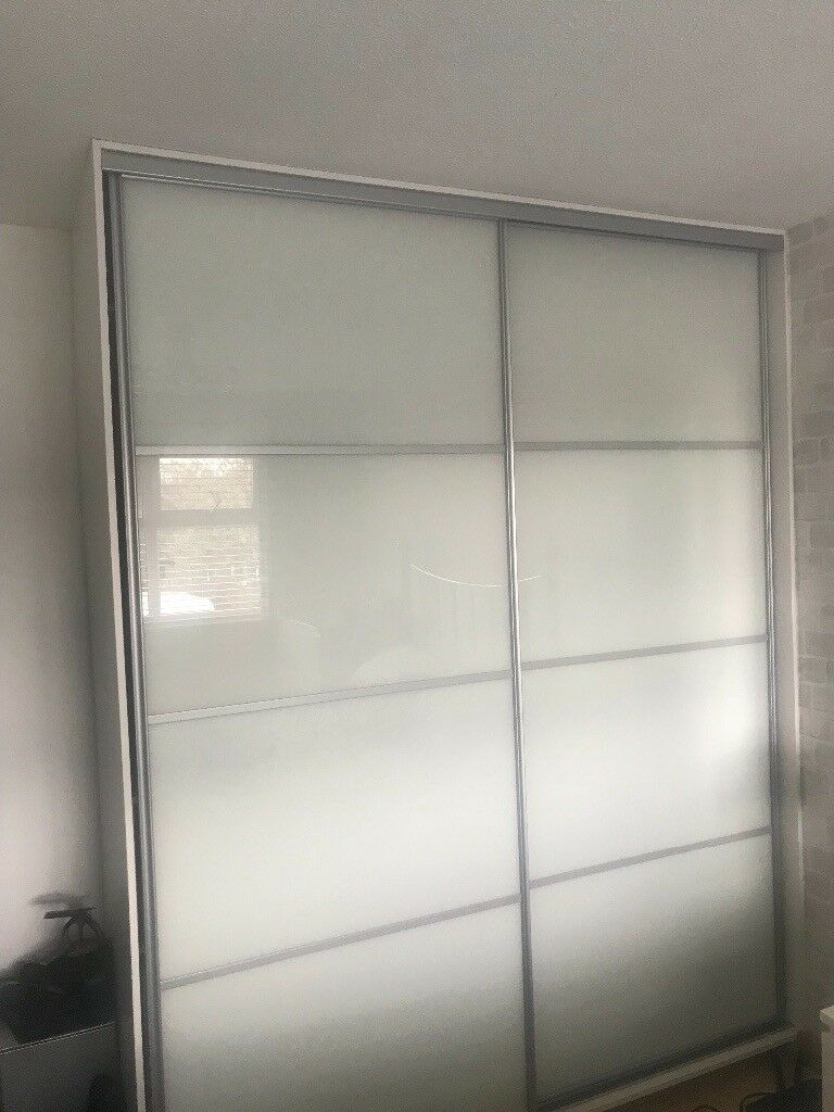 Stanley Sliding Wardrobe Doors And Track Finished In Silver With