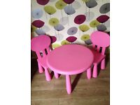Pink table & chairs