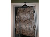 Topshop tunic print dress with fluted sleeves size 10