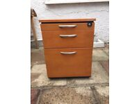 3 Drawer Under Desk Filing Cabinet with wheels x 4