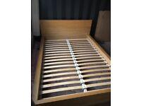 Ikea Malm oak bed frame and 4 drawer unit