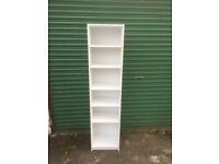 Tall narrow bookcase / white shelf