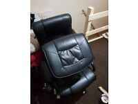 Leather black chair with stool