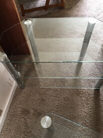 Glass tv stand and coffee table