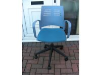 Office Arm Chair Blue Padded Seat Swivel Gas Lift Height Adjustable on Casters