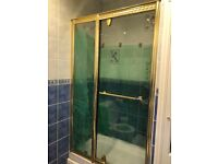 Gold Showerlux hinged Opening Shower Door detailed design Great Condition