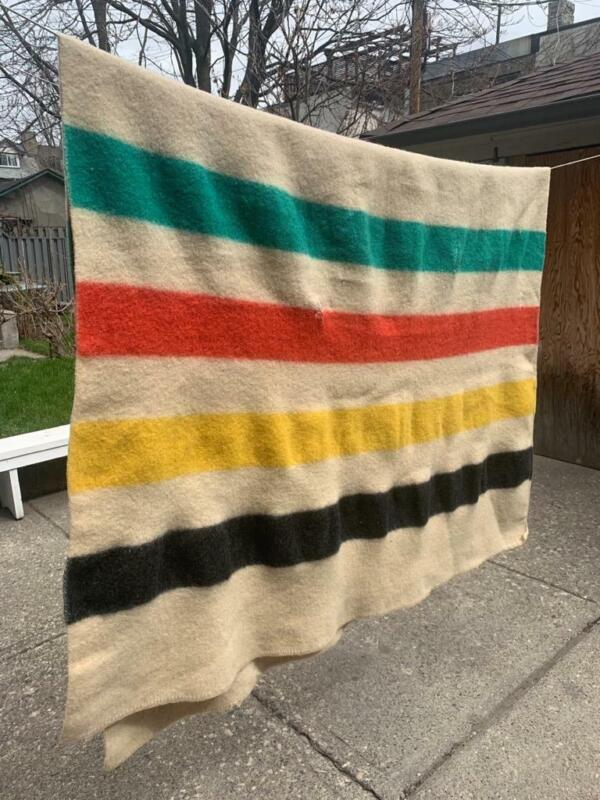 VINTAGE FOUR STRIPE CLASSIC HEAVY WOOL TRAPPERS BLANKET WORN 49 X 78 INCHES