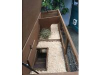 Large rabbit hutch with attached run plus rain/thermal covers