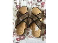 Clarks slip on sandals, brown leather, never been worn, size 10