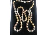 Silver ROSE GOLD WHITE GOLD YELLOW GOLD BALLS NECKLACE diamond cut 925 solid silver 36 inch