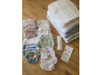 Reusable cloth nappies / large nappy bundle, including Bambino Mio