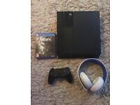 PS4 500GB w/ controller, game and headset.