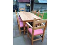 Solid pine table, 2 carvers & 6 chairs. Perfect for your family Xmas lunch and dinner parties £200