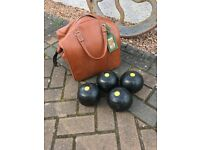 Lawn bowls with bag