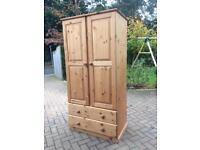 Solid pine double wardrobe
