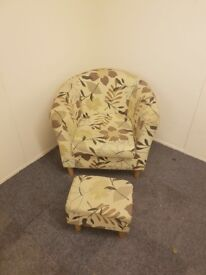 Floral Tub Chair and Footstool